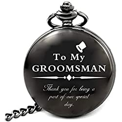 LEVONTA Groomsmen Gifts for Wedding, Best Man Gifts for Wedding Funny, Personalized Groomsman Pocket Watch (Groomsman Gifts)