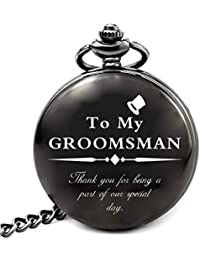 Groomsmen Gifts for Wedding, Personalized Groomsman Pocket Watch with Chain (Groomsman Gifts)