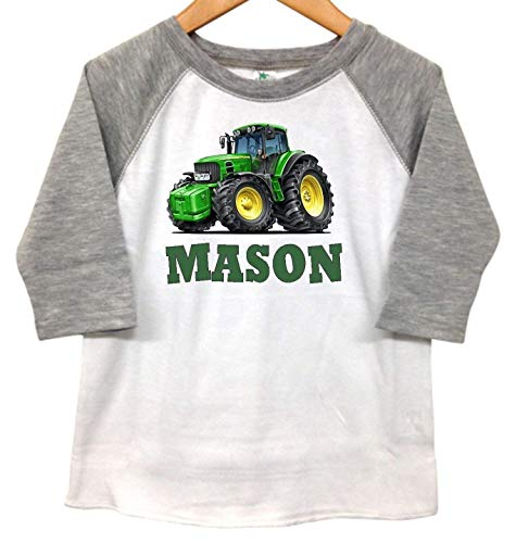 - Tractor Farm Boys Personalized Kids Toddler Raglan T Shirt Tee Grey 3 Fourths Sleeve Design Custom Name