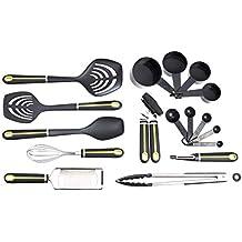 AmazonBasics 17-Piece Tools and Gadget Set, Soft Grip Handle, Grey and Green