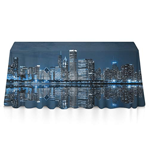 Stain Resistant Dust-Proof Rectangular Table Cloths - USA Chicago Skyline Night View Table Decor, Square Or Round Tables Tablecloths for Wedding Catering Events, BBQ]()