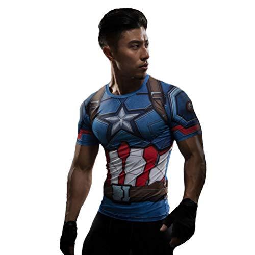 Short Sleeve Compression Shirt Captain America Running T Shirt for Men 4XL -