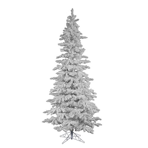 10' Flocked White Spruce Slim Artificial Christmas Tree - Unlit