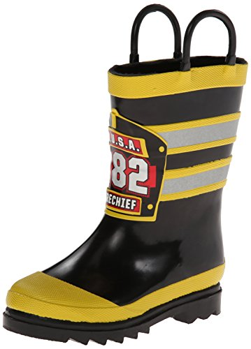 (Western Chief Boys Waterproof Printed Rain Boot with Easy Pull On Handles, F.D.U.S.A., 9 M US)