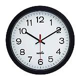 Yoobure 12' Silent Quartz Decorative Wall Clock Non-Ticking Digital Plastic Battery Operated Round Easy to Read Home/Office/School Black Clock