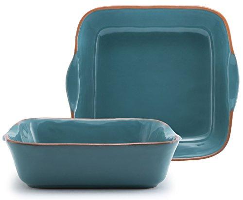 (Aqua Blue Glazed Terracotta Ceramic Square Baker, 10.25