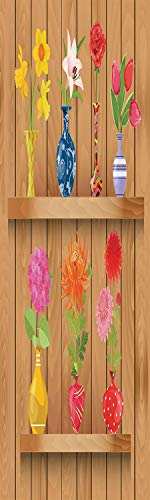 Daffodil 3D Decorative Film Privacy Window Film No Glue,Frosted Film Decorative,Glass Vases with Colorful Flowers on Wooden Shelves with Pastel Effects Artsy Graphic,for Home&Office,17.7x59Inch Multi