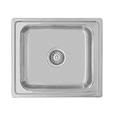 ENKI Spüle mit 1 Spülbecken - Kompakt & Eckig - Einbau/Aufsatz ... | {Spülbecken edelstahl eckig 35}