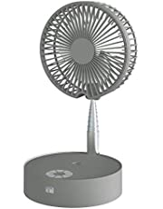 Portable Fan Folding Misting Fan, N97 Outdoor Standing Fans USB Rechargeable Stand Fan with Lights and Remote Control with 4 Speed Humidifying Spray Fan (Grey)