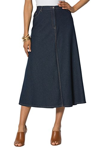 Roamans Women's Plus Size Perfect Denim A-Line Skirt Indigo,
