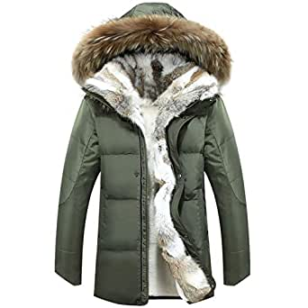 Amazon.com: Fur Warm White Duck Feather Coat Long Winter