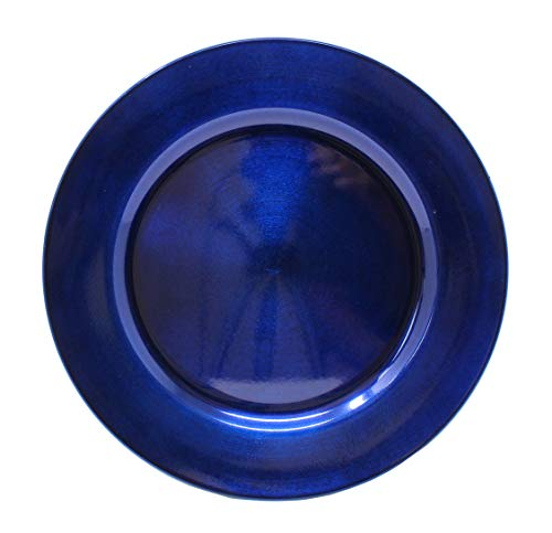 Ms Lovely Metallic Foil Charger Plates - Set of 6 - Made of Thick Plastic - Dark Blue