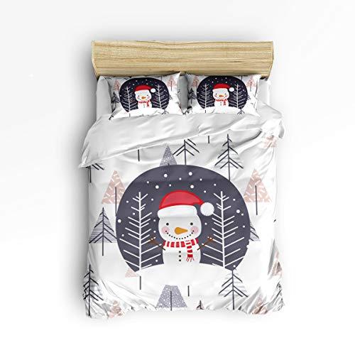 Libaoge 3 Piece Bedding Set for Women Men, Zipper, Ultra Soft - Christmas Snowman with A Hat Cartoon Xmas - 1 Printed Down Comforter Duvet Cover Matching 2 Pillow Shams, King Size