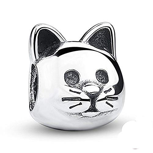 - Lucky Animals Head Charm Authentic 925 Sterling Silver Pet Charms for European Bracelet (cat)