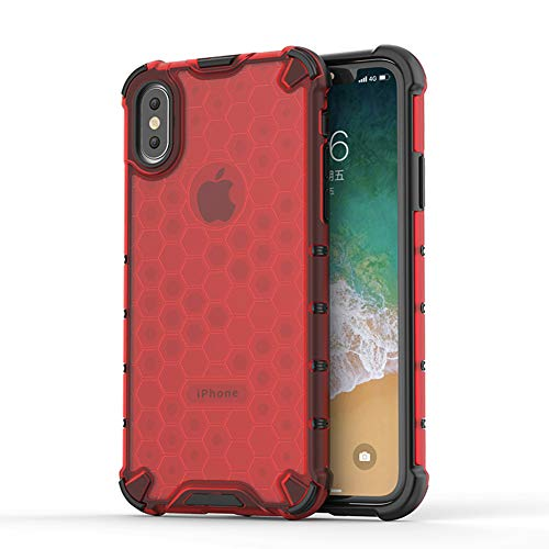Honey Yellow Case - BIBERCAS Clear iPhone X Case,Ultra Thin Slim Transparent iPhone X Case,Honeycomb Anti Yellow Anti-Scratch Shock Absorption 360 Degree Full Body Protection Cover Case for iPhone X/XS-red
