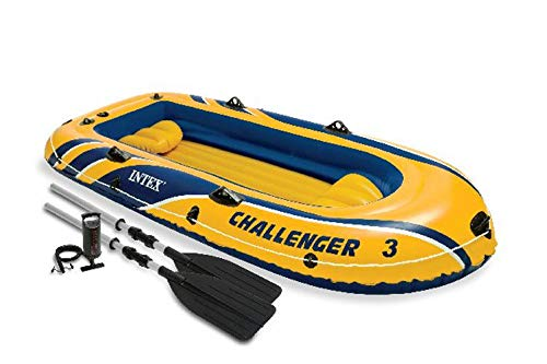 INTEX Challenger 3 Boat Set Inflatable w/ Motor Mount Kit