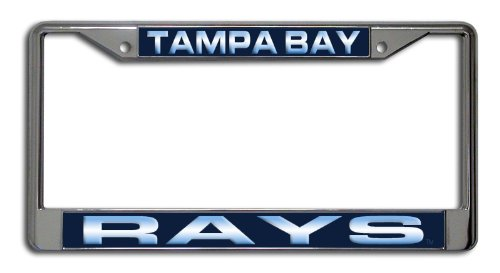 MLB Tampa Bay Rays Laser-Cut Chrome Auto License Plate Frame