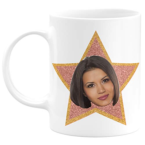 Customizable Mug Funny Star - Office Star 11 oz. Coffee Mug Personalized- ADD a Photo, Employee of the Month Mug, Ceramic, Tazas Personalizadas, Office Gift, Novelty Mug, Great Gift Idea - Hollywood -