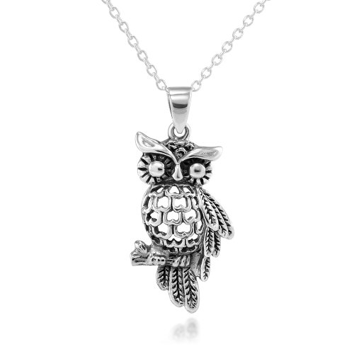 925 Sterling Silver Heart Owl Pendant Necklace 18