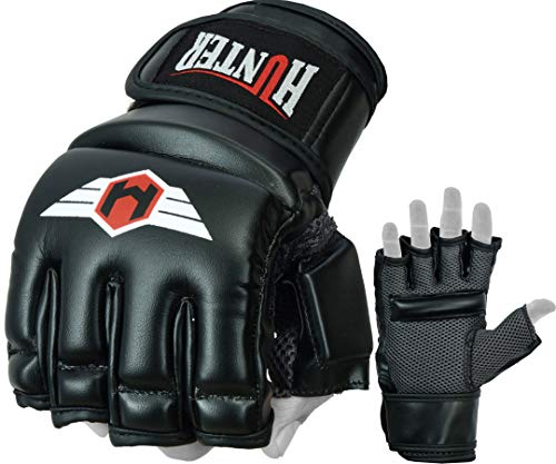 (Hunter MMA Gloves Grappling Martial Arts Synthetic Leather Genuine Punching Bag Mitts Sparring Cage Fighting Combat)