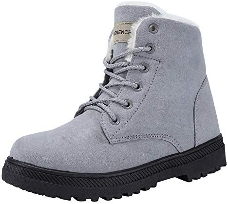 Women's Snow Boots Winter Suede Cotton Warm Fur Lined Ankle Boots Outdoor Anti-Slip Waterproof Booties Lace Up Platform Shoes U120WYJNX-New.Grey-42