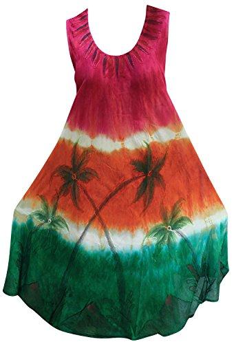 La Leela loral lazo hecho a mano de tinte ropa de playa vestido largo maxi ocasional ray�n de la vendimia