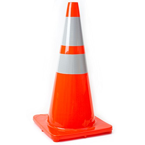 (Set of 8) 28'' RK Orange Safety Traffic PVC Cones, Orange Base with Two Reflective Collar by RK Safety