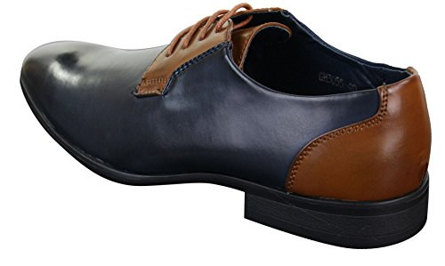 con pelle navy uomo nero navy design in marrone chic casual stringate chiaro da italiano blu Scarpe marrone 8qwtx56O