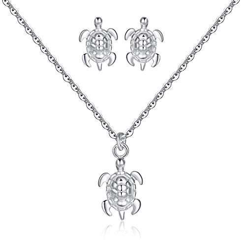 USA Annabel Sterling Silver Sea Turtle Necklace Pendant Ear Studs Suit- 16 inch Adjusting chainbuckle Necklace in Sterling Silver for Female
