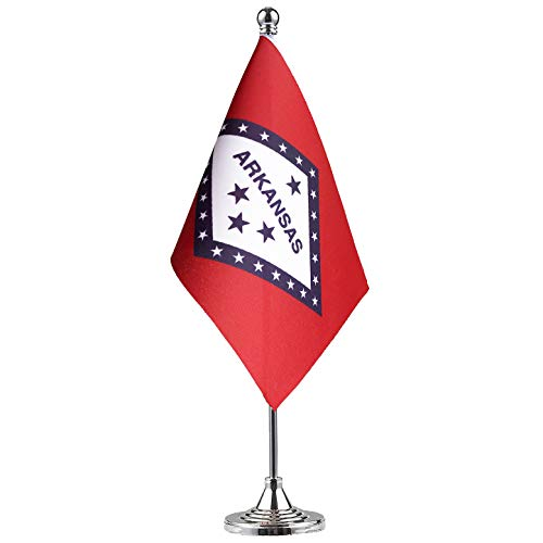 GentleGirl.USA Arkansas State Flag Arkansas AR Flag, Small Mini Arkansas State Flag Desk Flag Stick Office Table Flag on Stand Base,Festival Events Celebration Decoration,Desk Home Decoration