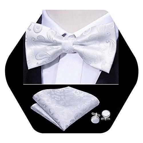 Barry.Wang Mens Designer Solid White Bow Tie Set Pre-tied Silk Bow Tie Hankerchief Cufflinks ()