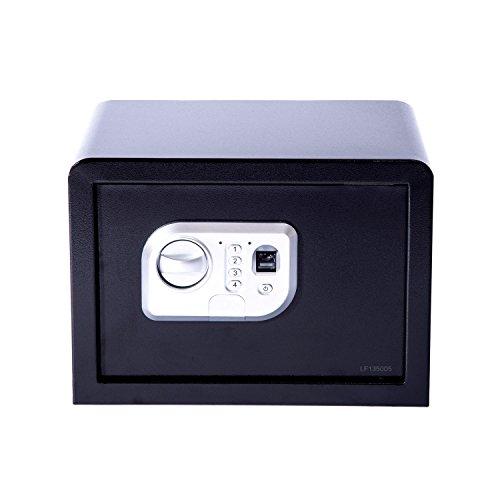 Tenive 0.6 Cubic Feet Safe Fingerprint Scanner Biometric Security Safe Electronic Fingerprint Lock Box Digital Gun Safe For Home Office Hotel w/ 2 Emergency Keys /Padding Mat, Black