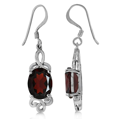 (4.18ct. Natural Garnet White Gold Plated 925 Sterling Silver Triquetra Celtic Knot Dangle Earrings)