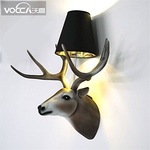 JhyQzyzqj Wall Sconce Wall Lights American Wall lamp Bedroom Bedroom Bedside lamp Simple Modern Living Room European Background Wall Balcony Creative Resin and Antlers Wall Light Lamps