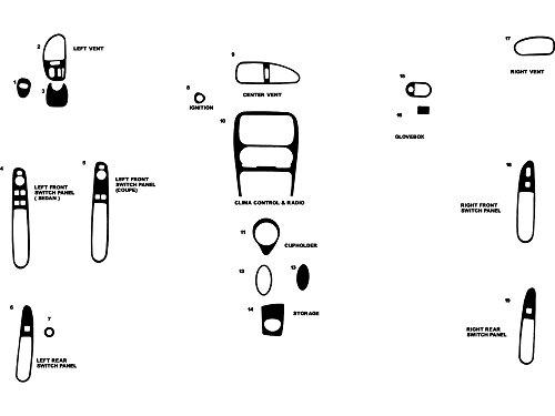 Rdash Dash Kit Decal Trim for Oldsmobile Alero 1999-2000 - Wood Grain (Burlwood Honey)