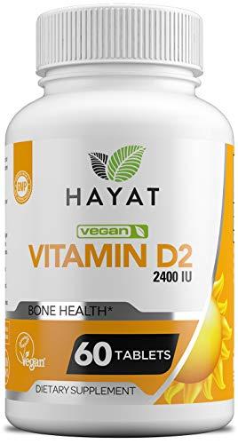 Hayat Vitamins Vegan Natural Vitamin D 2400 IU, D2, Certified Halal, 60 Tablets