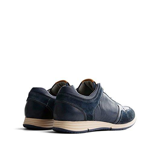 Travelin Corton Leather Sneaker | Schnürhalbschuhe Herren | Freizeitschuhe Sportschuhe | Leder Cognac, Blau & Grau Dunkelblau