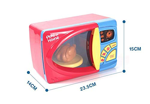 MeeYum Kids Pretend Play Electronic Toy Kitchen Microwave Oven with Realistic Lights and Sound, Includes Pretend Food by MeeYum (Image #2)