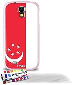 """Carcasa Flexible Ultra-Slim SAMSUNG GALAXY S4 de exclusivo motivo [Bandera Singapur] [Rosa] de MUZZANO  + 3 Pelliculas de Pantalla """"UltraClear"""" + ESTILETE y PAÑO MUZZANO REGALADOS - La Protección Antigolpes ULTIMA, ELEGANTE Y DURADERA para su SAMSUNG GALAXY S4"""