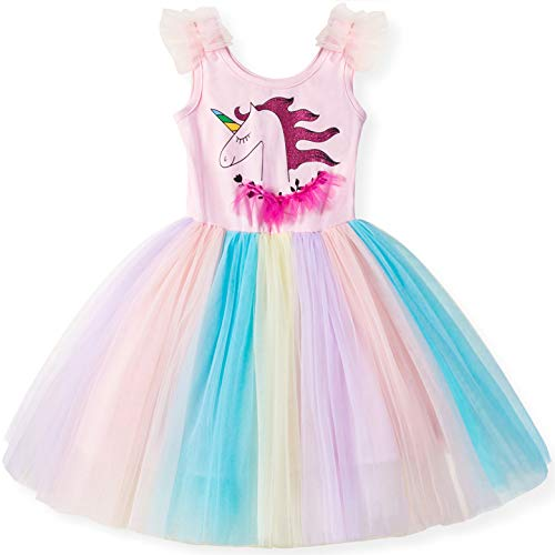 TTYAOVO Little Girls' Unicorn Sleeveless Tops with Layered Rainbow Tutu Skirts Size 4-5 Years]()
