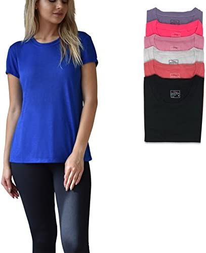 Women's 6 Pack Everyday Flowy Slub Burnout Active Casual Workout Crew T Shirt Tops