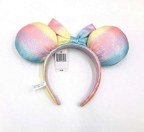 Minnie Ears Rainbow Sequins Bow Tokyo Disney Resort Rare Headband