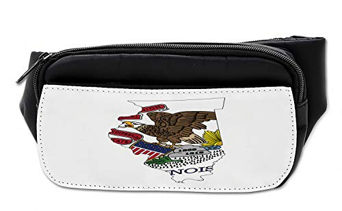 Lunarable Illinois Bumbag, Map and Flag Prairie State, Fanny Pack Hip Waist Bag ()