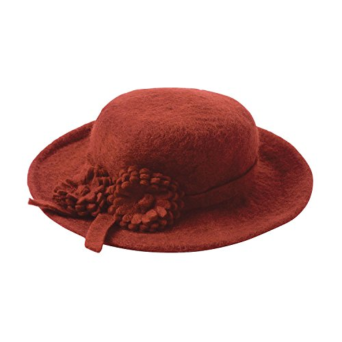 CATALOG CLASSICS Women's Hat - Felted Wool with Flower Accent - Soft Brimmed - (Felted Bucket)