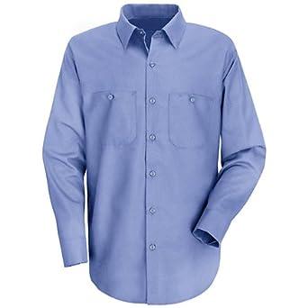 8575e314 Red Kap Wrinkle-Resistant Cotton Work Shirt, Men, Light Blue, XLNXL:  Amazon.co.uk: Clothing