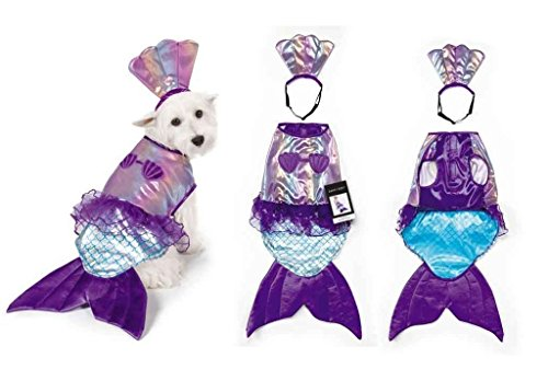 (Iridescent Mermaid Dog Costume Mythical Blue Purple Shimmery Shell Top -)
