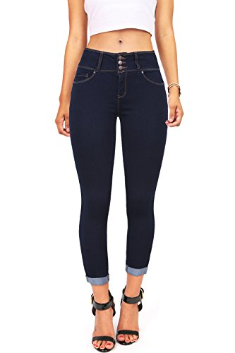Wax Women's Juniors Mid-Rise Capri Jeans w Cuffed Hem (7, Dark Denim)