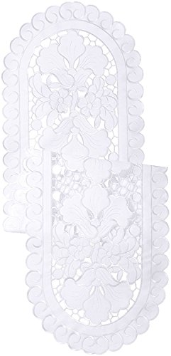 (Violet Linen Sapphire Embroidered Cutwork Lace Design Table Runner, 14
