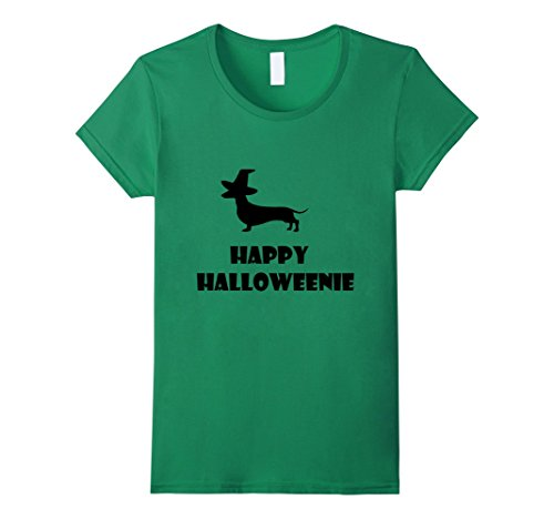 Dachshund Weiner Costume (Womens Happy Halloweenie T-Shirt Dachshund Halloween Weiner Dog Tee Medium Kelly Green)