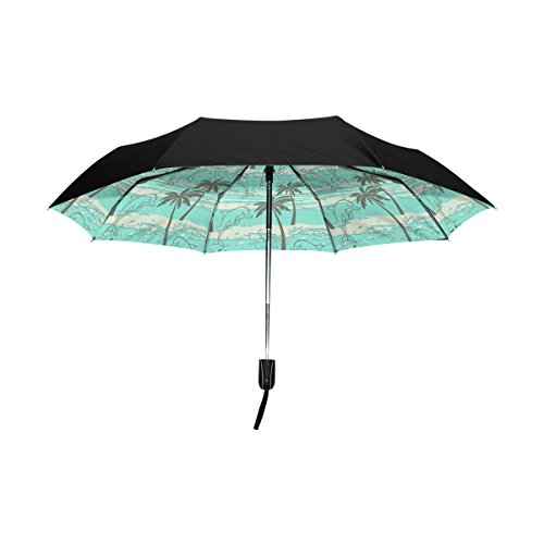 Aideess Outer Black Umbrella Dolphins Palm Trees UV Anti ...